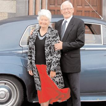 John and Maura Culleton outside Kylemore Abbey, Co Galway during their return visit
