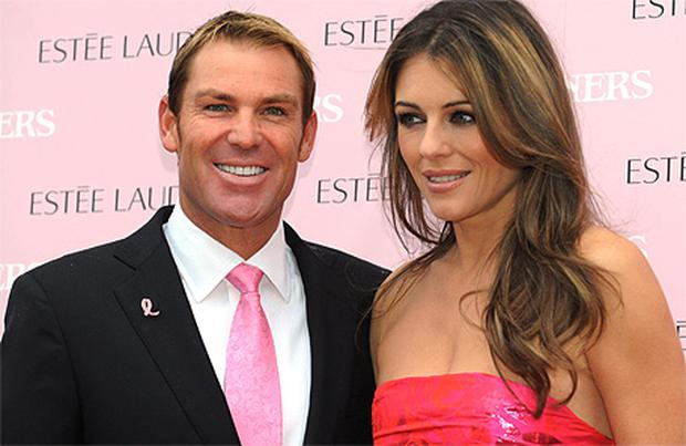 Shane Warne and Liz Hurley. Photo: Getty Images