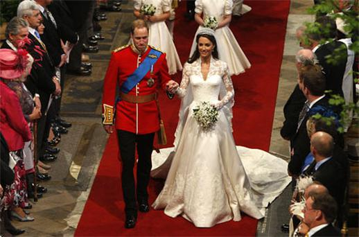 Prince William and Kate Middleton walk down the aisle at Westminster Abbey. Photo: Getty Images