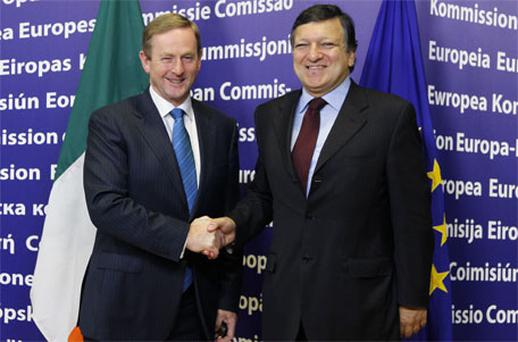 Enda Kenny and Jose -Manuel Barroso meet in Brussels. Photo: PA