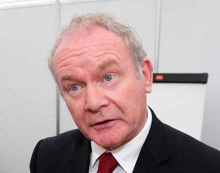 Presidential Candidate Martin McGuinness pictured speaking to the media at the National Ploughing Championships at Cardenton Near Athy yesterday.Pic Frank Mc Grath