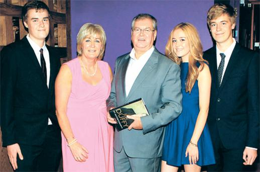Joe Duffy with wife June and their triplets Sean, Ellen and Ronan at the launch