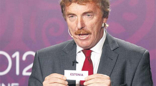 Former Polish international Zbigniew Boniek pulls out Ireland's opponents Estonia during the Euro 2012 qualifying play-off draw in Krakow yesterday