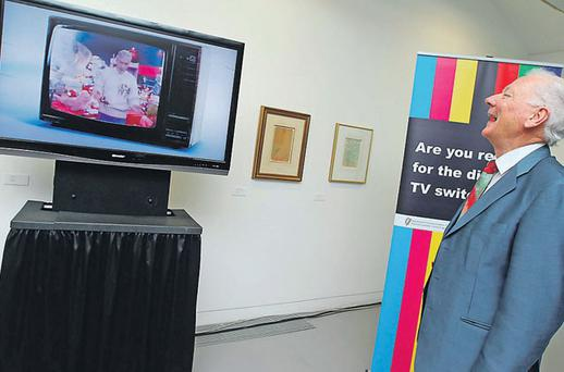 Gay Byrne was unveiled yesterday as the face of the campaign to switch to digital TV at the Royal Hibernian Academy in Dublin .