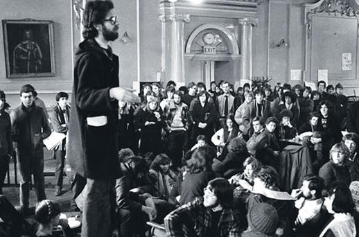 Sit-in: Joe Duffy addresses students during an occupation of the Junior Common Room in Trinity College Dublin