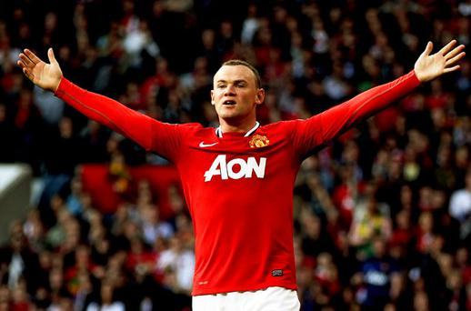 NO FLY ZONE: Manchester United's Wayne Rooney sees red