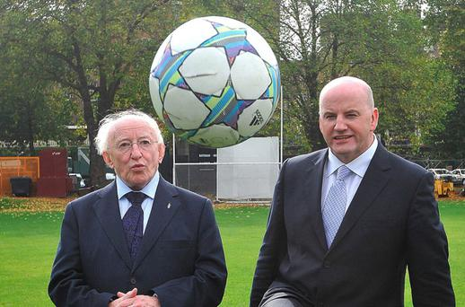 Presidential candidates, Michael D Higgins and Sean Gallagher