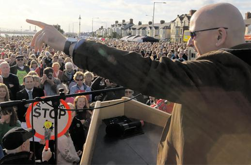 Roddy Doyle at a protest against a proposed wall to be built as part of a flood defence plan
