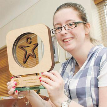 Meadhbh (14) with her Leitrim Young Person of the Year award
