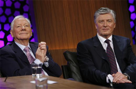 RTE broadcasters Gay Byrne and Pat Kenny on 'The Late Late Show'