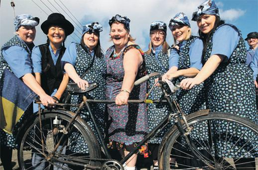 Mary O'Keeffe, Dora Hodginson, Julia Ruth, Liza Moore, Evelyn McRedmond, Helen Bowell and Sabrina Ruth, all from Abbeyleix, Co Laois, at the world record attempt for the largest gathering of High Nelly bicycles yesterday