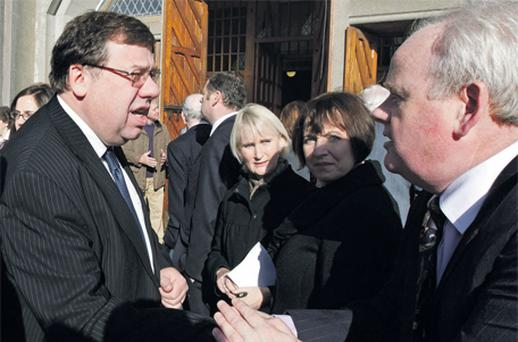 Former Taoiseach Brian Cowen at the funeral Mass of former TD Michael Fitzpatrick