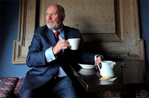 Senator, David Norris relaxes with a cup of coffee at Connolly Station before travelling to Dundalk to canvess for the presidential elections. Photo: Damien Eagers