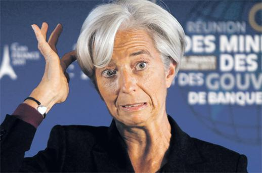 IMF head Christine Lagarde reacts during a news conference at the G20 meeting in Paris at the weekend