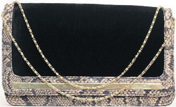 Black-suede and snakeskin clutch bag, €27, Miss Selfridge