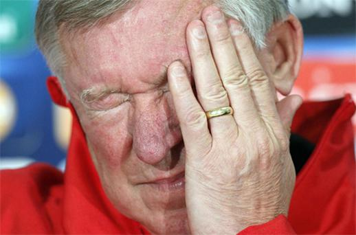 Manchester United manager Alex Ferguson reacts to a question at yesterday's press conference ahead of his team's Champions League clash with FC Galati tonight