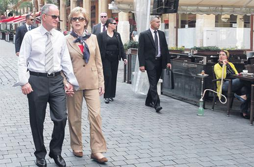 Mary McAleese touring downtown Beirut with her husband Martin on her last foreign trip as head of State