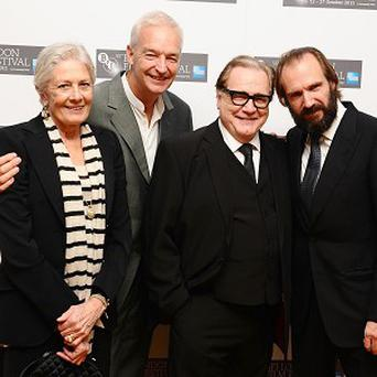 Vanessa Redgrave, Jon Snow, Brian Cox and Ralph Fiennes at the premiere of Coriolanus