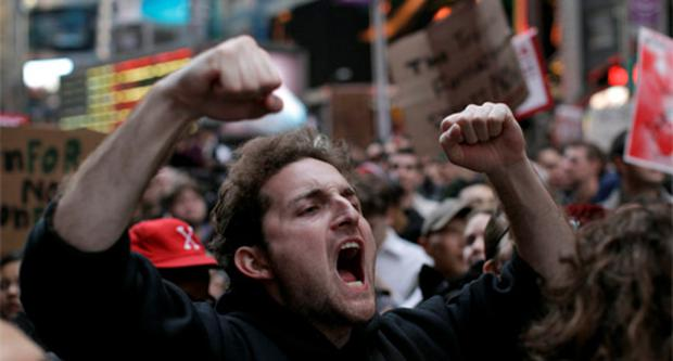 Protestors in Times Square, New York