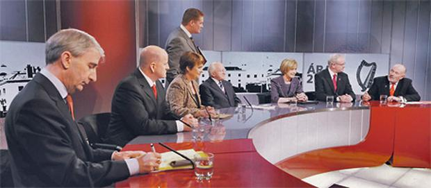 The candidates in the studio at the TG4 presidential debate yesterday