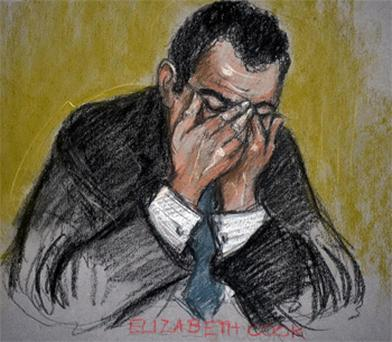 A courtroom sketch of Vincent Tabak in tears during his trial for the murder of Joanna Yeates