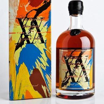 Damian Hirst designed the box and bottle label for a limited edition run of Somerset Cider Brandy