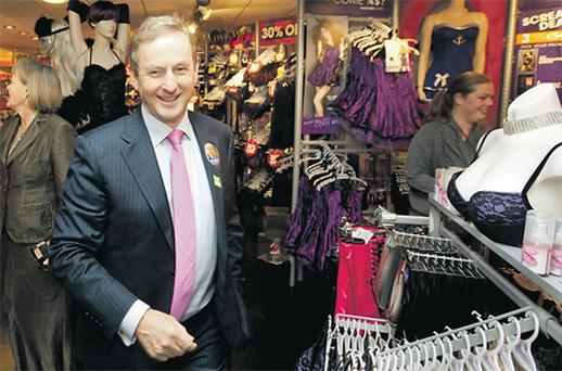 Enda Kenny goes where no Taoiseach has gone before – an Ann Summers shop – in Limerick yesterday