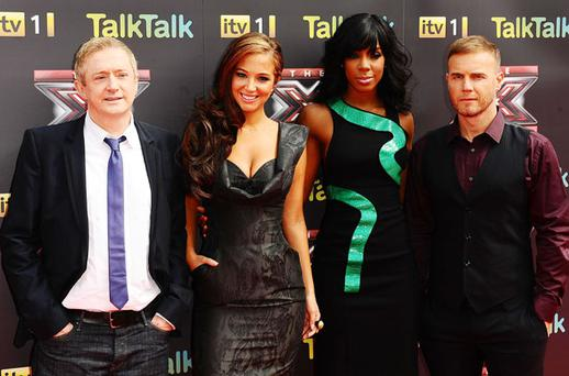 The X Factor judges Louis Walsh, Tulisa Contostavlos, Kelly Rowland and Gary Barlow