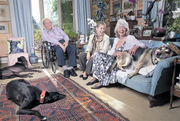 Happy family: Jojo Moyes visits Jilly Cooper and her husband Leo at their home in the Cotswolds