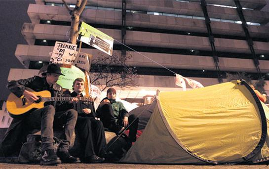 Protesters at the Occupy Dame Street camp at the Central Bank in Dublin