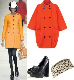 Coat, €120 at Marks & Spencer; Faux fur pillbox, €27, and shoes, €143, at Topshop.com