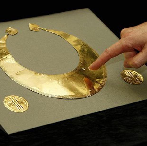 Early Bronze Age gold recovered from a skip in Co Roscommon in 2009 has gone on display