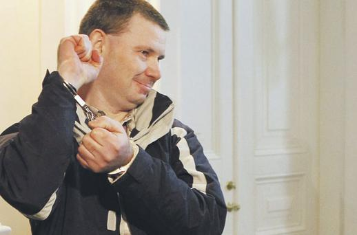 Michael Campbell outside court in Vilnius yesterday