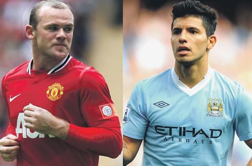 Manchester United's Wayne Rooney and City's Sergio Aguero could be key figures at Old Trafford tomorow