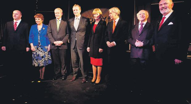 The seven presidential candidates with Today FM broadcaster Matt Cooper (fourth from left)