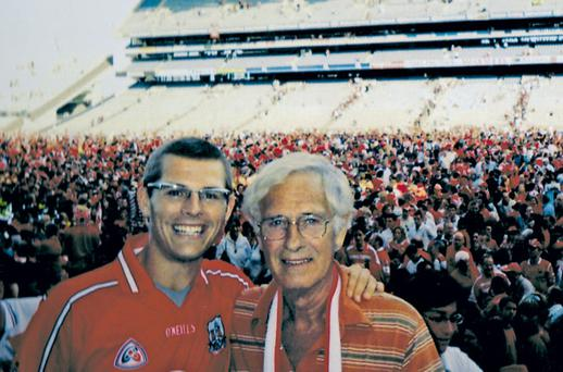 Rebels: Des Bishop with his father Mike at Croke Park after a Cork All-Ireland hurling victory