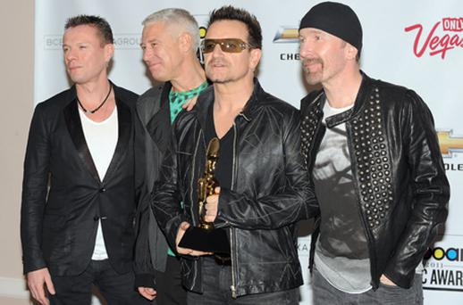 Larry Mullen, Jr., Adam Clayton, Bono and The Edge of U2 at the 2011 Billboard Music Awards in May. Photo: Getty Images
