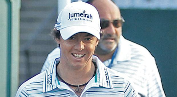 Rory McIlroy and Andrew 'Chubby' Chandler during happier times at the US PGA championship last August