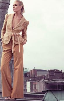 Jacket, €310, Robbi & Nikki; trousers, €245, Trina Turk; shoes, €108, Dune