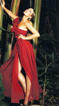 Red-corsage long dress, €107.50, River Island; 'Cosmo' gold shoes, €205, Reiss <br/> Photos by Daniel Holfeld