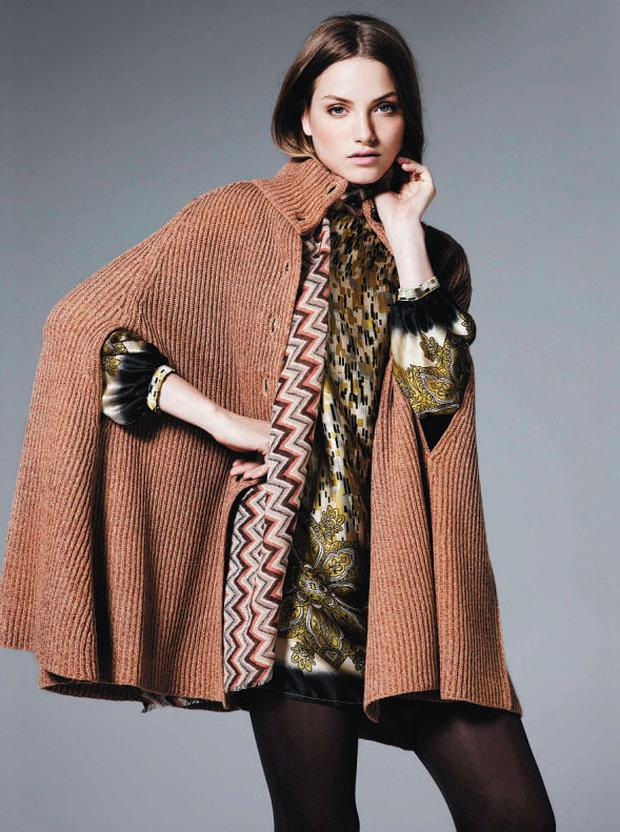Cape, €36, Only; tunic, €98; scarf, €44, both Linea, all House of Fraser