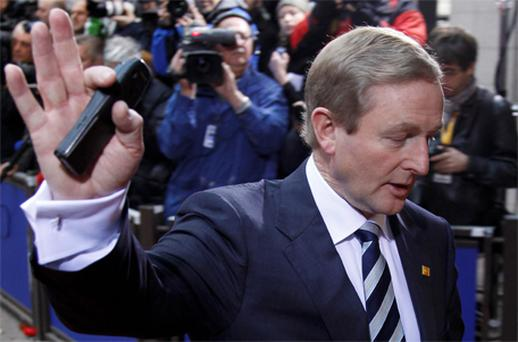 Taoiseach Enda Kenny arrives at the European Union summit in Brussels. Photo: Reuters