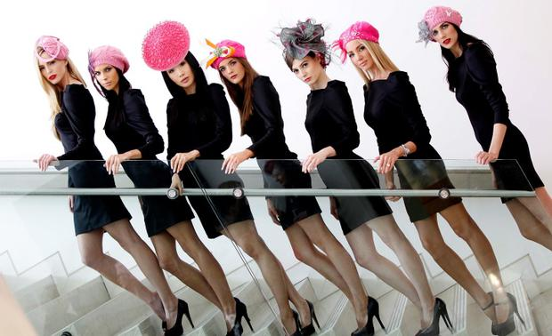 No Repro Fee.Models, Sarah Morrissey (left) with Adrienne Murphy, Yomiko Chen, Bethann O Connell, Paloma Feijoo, Suzanne McCabe and Christina Toal (right), pictured here wearing one off editions of Centra retailer's hugely popular pink beanie hats. Top Irish milliners including Philip Treacy, Martha Lynn, Lina Stein, Suzie Mahony, Edel Ramberg, Catherine Cooke and Tahnee Morgan have come on board with Centra to support the launched campaign which will see the exclusive one-off designer beanie hats auctioned off to raise much needed funds for Action Breast Cancer at the end of October. Pic. Robbie Reynolds/CPR