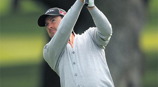 Graeme McDowell in action at Valderrama yesterday