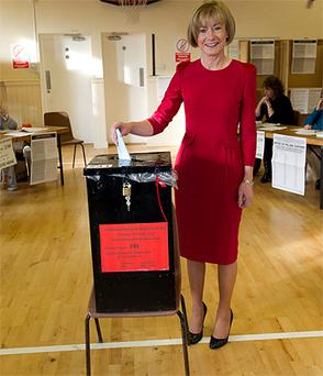 Mary Davis casts her vote at Burrow National School, Sutton