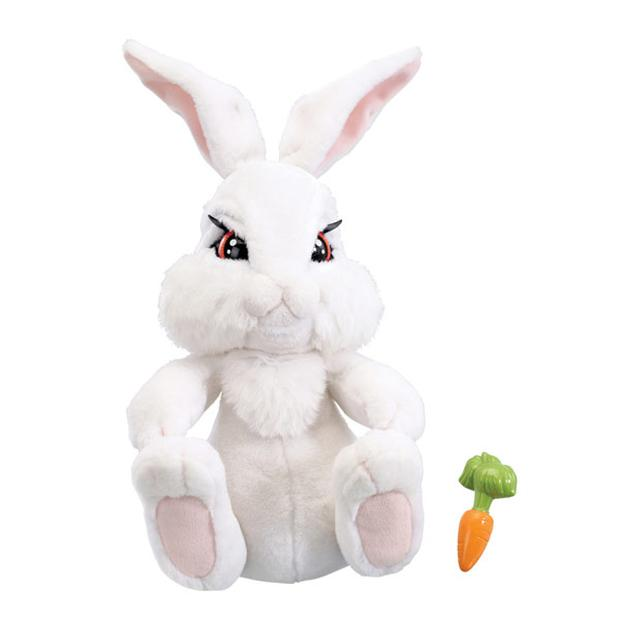 <b>Milky the Bunny (from the Emotion Pets range) &euro;59.99 -</b><br/> Although he does look a bit menacing , Milky is your 'real', adorable, snow white bunny. He really moves his eyes, nose, ears and feet. His feet are ticklish. He really chews his carrot and when he gets scared his ears tremble!