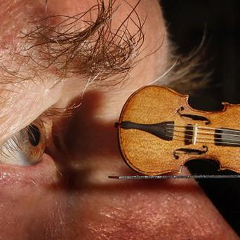 David Edwards with his dollshouse violin which costs 1,000 pounds
