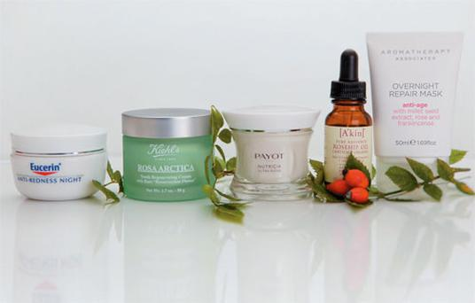 Pictured, from left: Eucerin Anti-Redness Calming Night Cream; Kiehl's Rosa Arctica Youth Regenerating Cream; Payot Nutricia Ultra Riche Creme; A'kin Rosehip Oil; Aromatherapy Associates Overnight Repair Mask