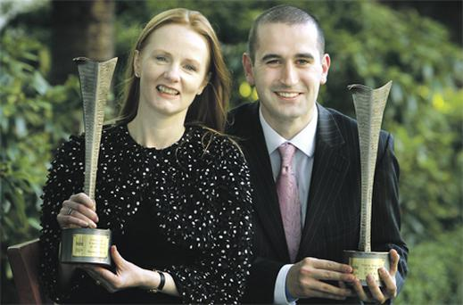 Martina Devlin, who won the Columnist of the Year award, with her 'Irish Independent' colleague, Fiach Kelly, who scooped the Young Journalist of the Year