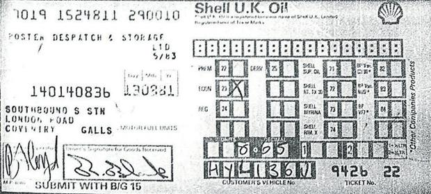 The receipt for petrol in Coventry that helped map Black's movements